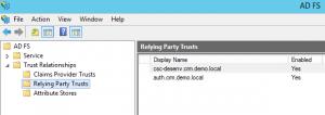 Tela de acesso ao Relying Party Trusts